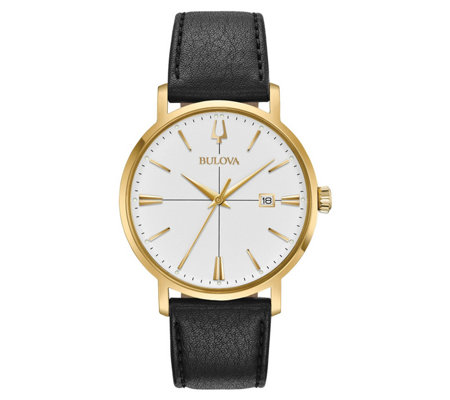 Bulova Men S Aerojet Goldtone Stainless Leatherwatch