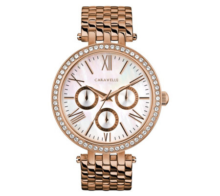 Caravelle Women's Rosetone Stainless Crystal Bracelet Watch