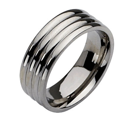 Steel by Design Grooved 8mm Polished B and Ring