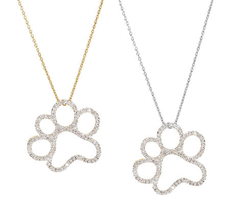 Diamond paw print pendant 14k cladsterling by affinity qvc diamond paw print pendant 14k cladsterling by affinity aloadofball Images