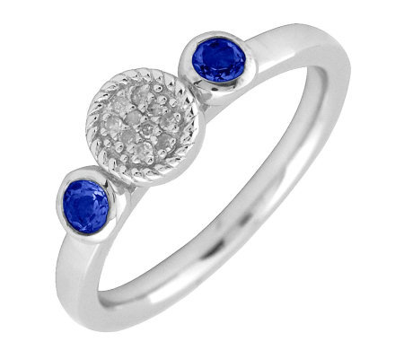 Simply Stacks Sterling & Double Round SapphireDiamond Ring