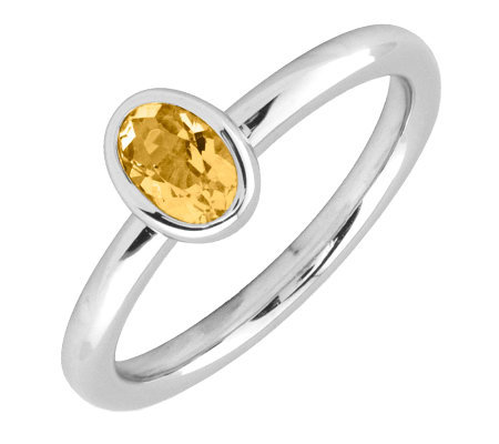 Simply Stacks Sterling & Oval Citrine Ring