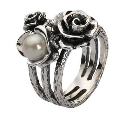 Or Paz Sterling CulturedFreshwater Pearl Rose Ring