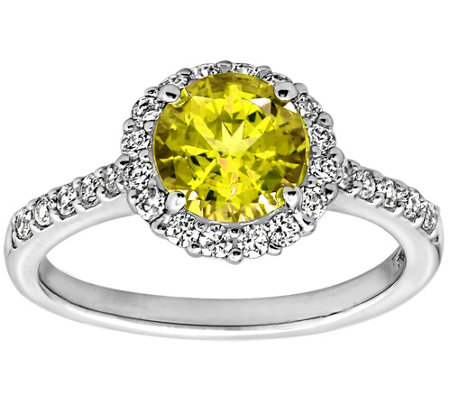 Diamonique Canary 100-Facet Ring, Platinum Clad
