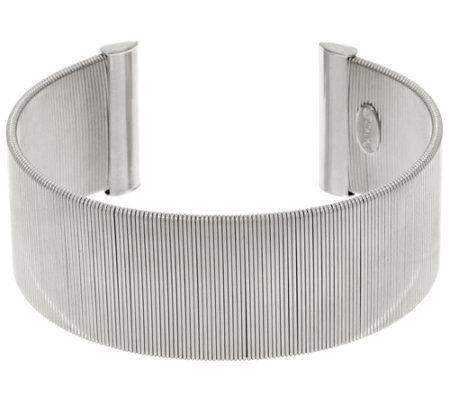 """As Is"" Italian Silver Sterling Polished Wire Wrapped Cuff Bracelet, 32.1g"