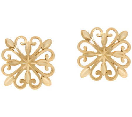 14K Gold Open Work Stud Earrings with Gift Box