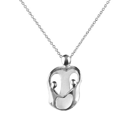 Loving Family Sterling Mother & 2 Children Pendant with Chain