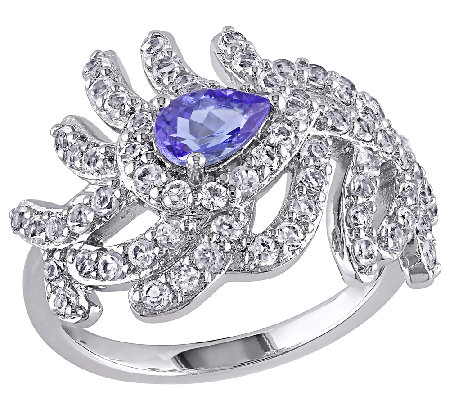 2.60cttw White Topaz & Tanzanite Feather DesignRing, Sterling