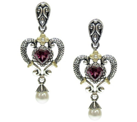 Barbara Bixby Sterling & 18K 1.60 ct Garnet & Pearl Earrings