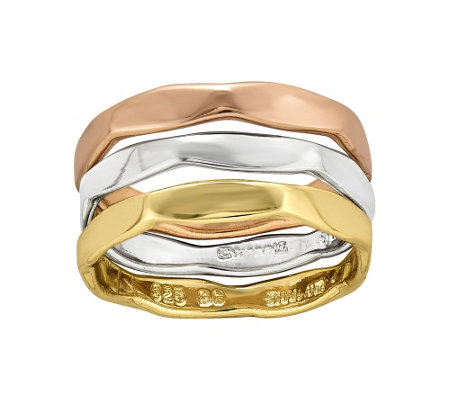 Sterling & 14K Gold-Plated Three-Ring Set by Silver Style