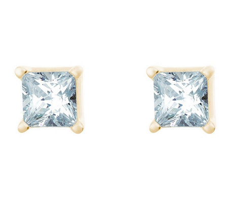Princess Cut Diamond Earrings, 14K Gold, 1/3 cttw, by Affinity