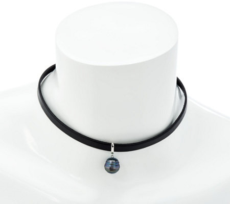 Honora Cultured Pearl Black Leather Choker Necklace