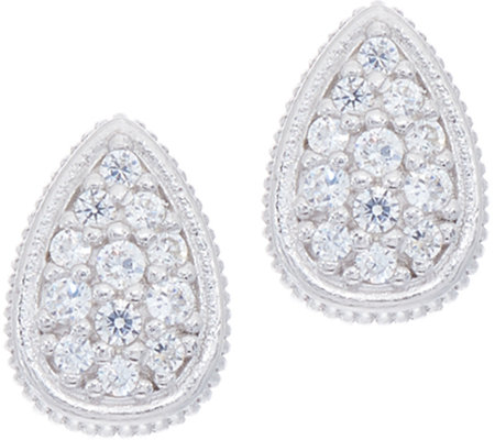 Diamonique Pave' Pear Stud Earrings, Sterling