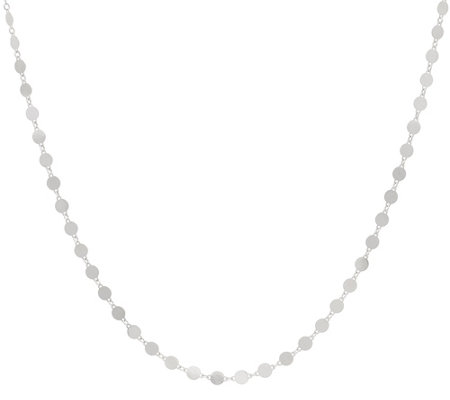 "Italian Silver 18"" Polished Disc Necklace 2.7g"