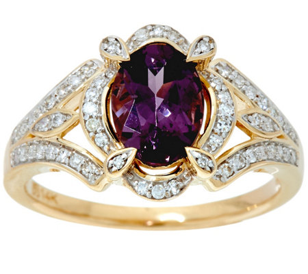 """As Is"" Oval Lavender Spinel & Diamond 14K Gold 1.00 ct"