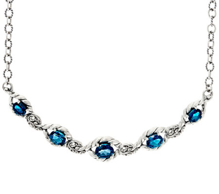 """As Is"" Carolyn Pollack_Sterl. Silver 9.50cttw Blue Topaz Adj. Necklace"