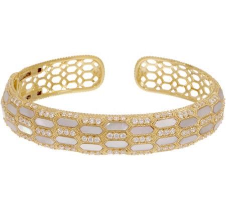 Judith Ripka 14K Gold Clad Mother of Pearl & Diamonique Cuff
