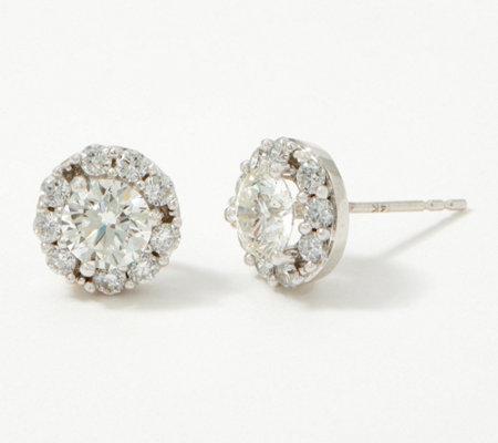 Fire Light Lab Grown Diamond 14k Gold Halo Stud Earrings 2 00cttw Qvc