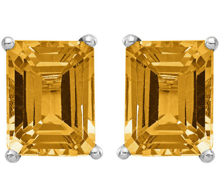 14k White Gold Emerald Cut Gemstone Earrings