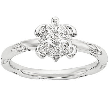 Simply Stacks Sterling Diamond Turtle Ring