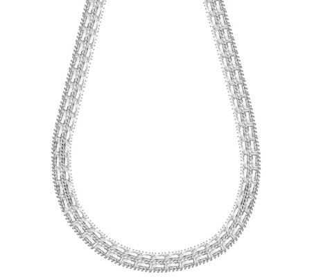 Imperial Silver 18 Double Row Mirror Sparkle Necklace 38 8g