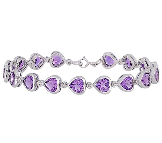 Sterling Silver 9.35 cttw Heart-Shaped AmethystLink Bracelet