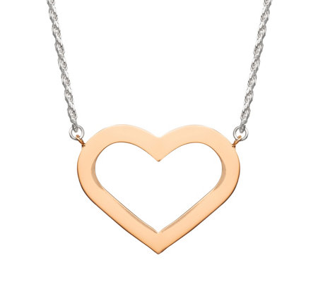 "Sterling 16"" Two-Tone Heart Station Necklace"