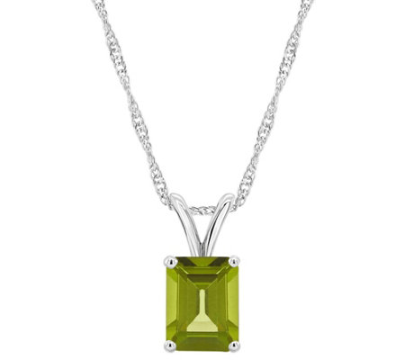 1.50 cttw Peridot Pendant w/ Chain, Sterling Silver