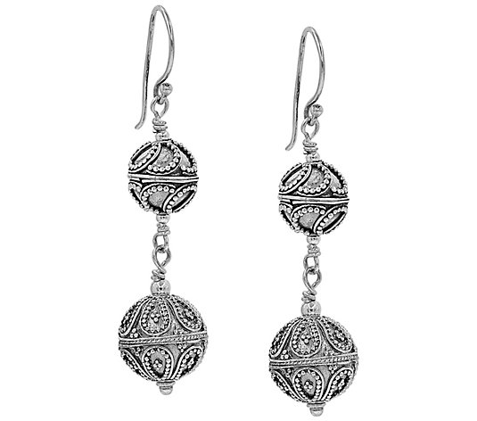 Artisan Crafted Sterling Silver Beaded Dangle Earrings