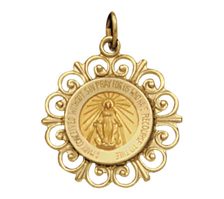 14K Yellow Gold Framed Miraculous Medal