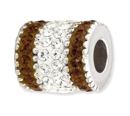 Prerogatives Sterling Smoky Brown Crystal Barrel Bead