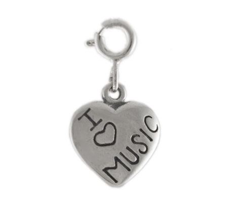 Sterling I Love Music Heart Charm