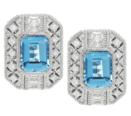 Judith Ripka 4.40ct Swiss Blue Topaz & Diamonique Estate Earrings