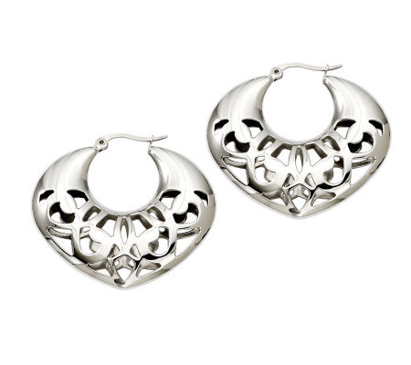 Stainless Steel Cut-Out Hoop Earrings