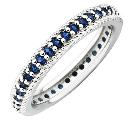 Simply Stacks Sterling Simulated Sapphire Eternity Ring
