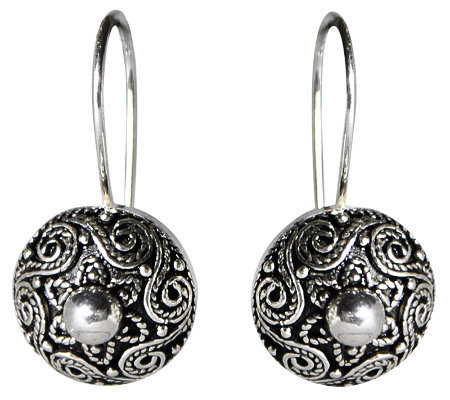 Artisan Crafted Sterling Polished Bead Center Earrings
