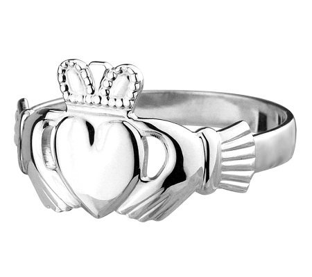 Solvar Ladies Claddagh Ring, 14K White Gold