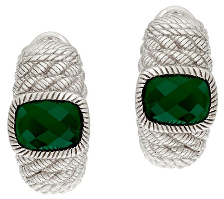 Judith Ripka Sterling Green Chalcedony Earrings
