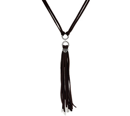 Sterling & Leather Tassel Necklace by American West
