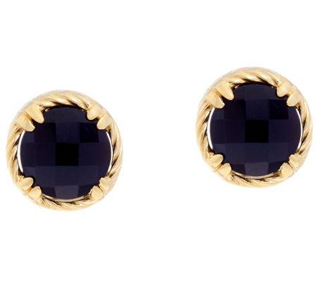 Delatori Sterling 14k Clad Black Onyx Stud Earrings