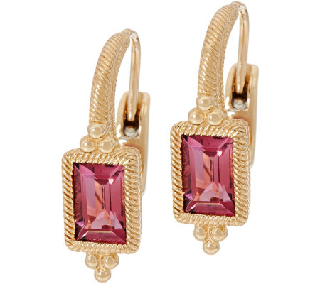 Judith Ripka 14K Gold 0.95 cttw Pink Tourmaline Earrings