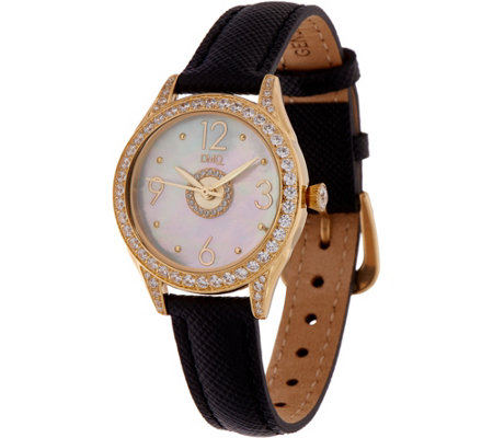 Diamonique Round Watch with Leather Strap