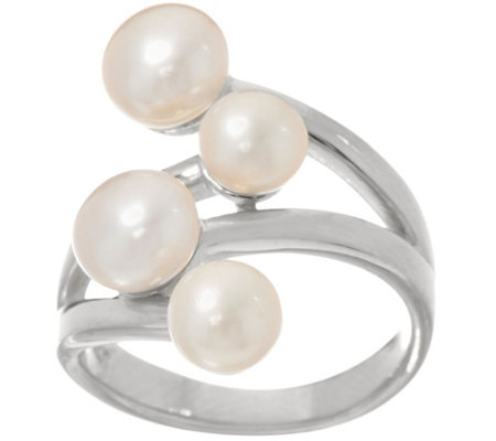 """As Is"" Honora Cultured Pearl Sterling Silver Bypass Sterling Ring"