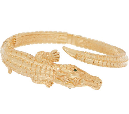 Italian Gold Large Alligator Cuff, 14K Gold 10.9g