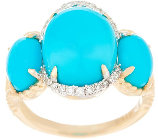 Sleeping Beauty Turquoise and Diamond Ring, 14K