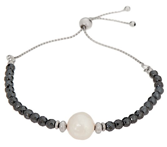 Honora Pearl And Gemstone Adjustable Bracelet, Sterling Silver