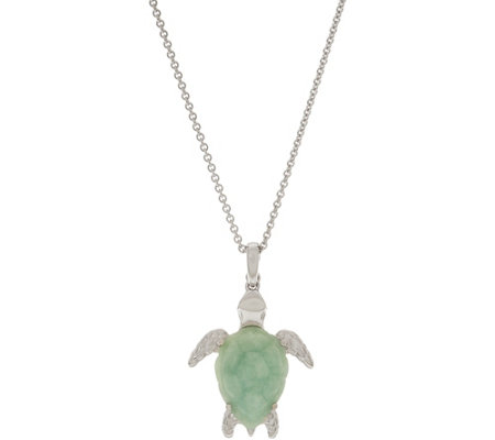 "Jade and Gemstone Turtle Enhancer w/ 18"" Chain, Sterling Silver"