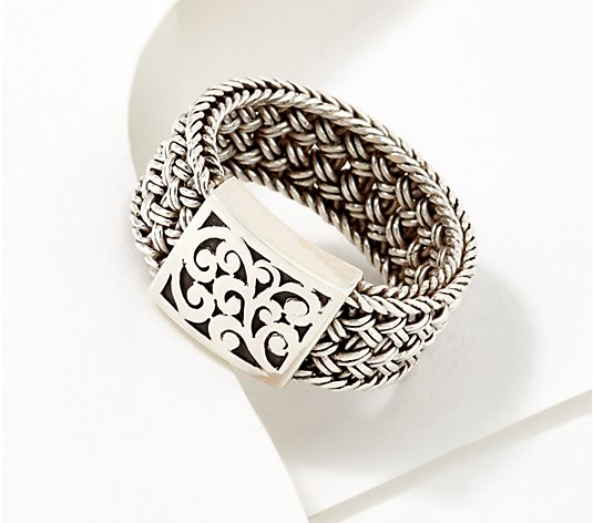 Lois Hill Sterling Silver Textile Weave Station Ring