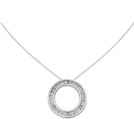 Diamond Circle Pendant w/ Chain, 14K, 1/4 cttw,by Affinity