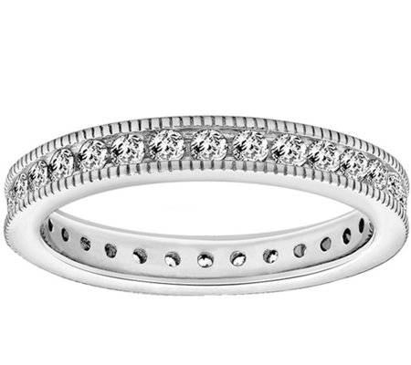 Diamonique 1.10 cttw Round Eternity Band Ring,Platinum Clad